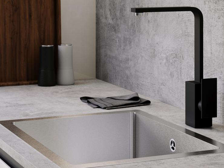 Balham Gloss Dove Grey sink and black tap