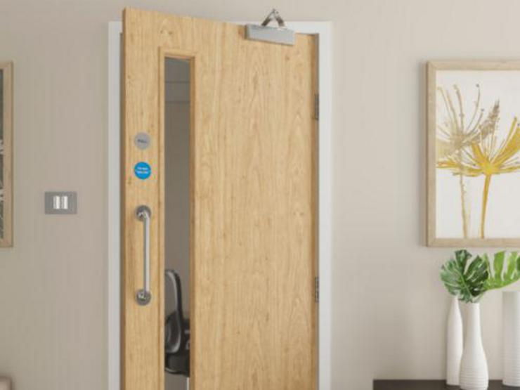 FD30 rated glazed fire door with panic hardware