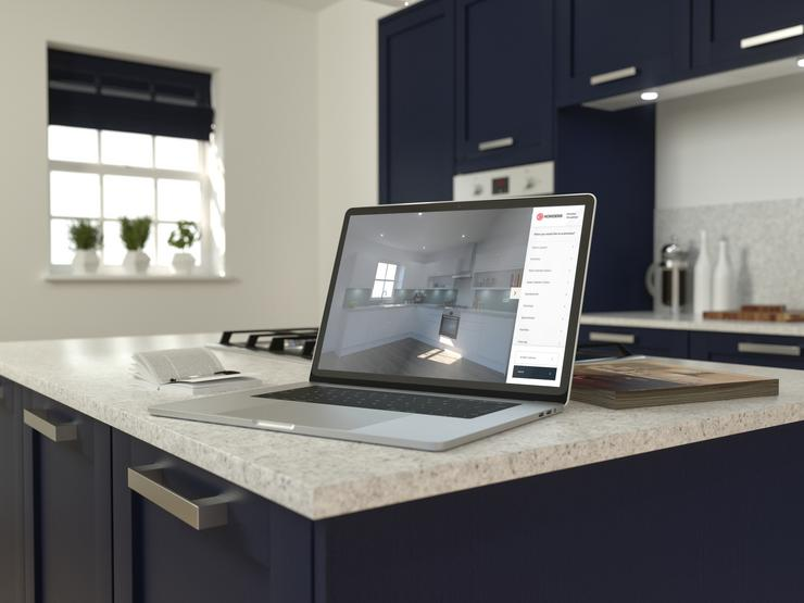Header full - laptop on worktop showing CAD design