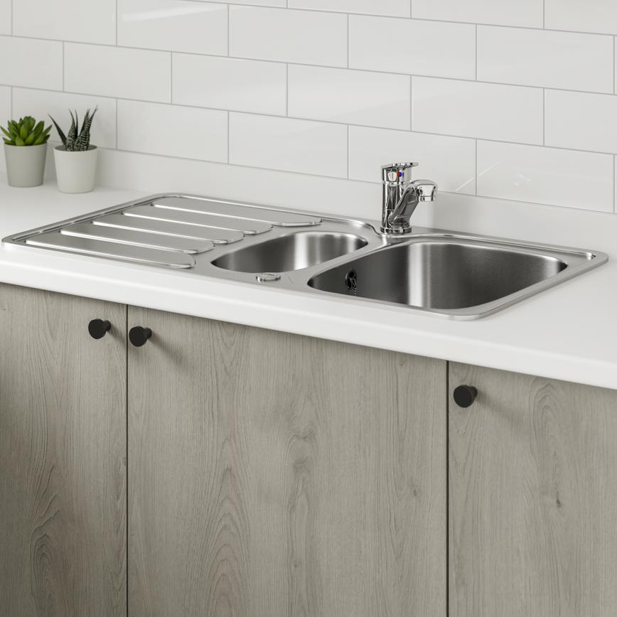 Greenwich Light Grey Oak sink detail