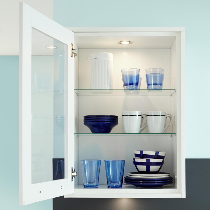 Full-Height Glass Wall Unit with Internal Glass Shelves