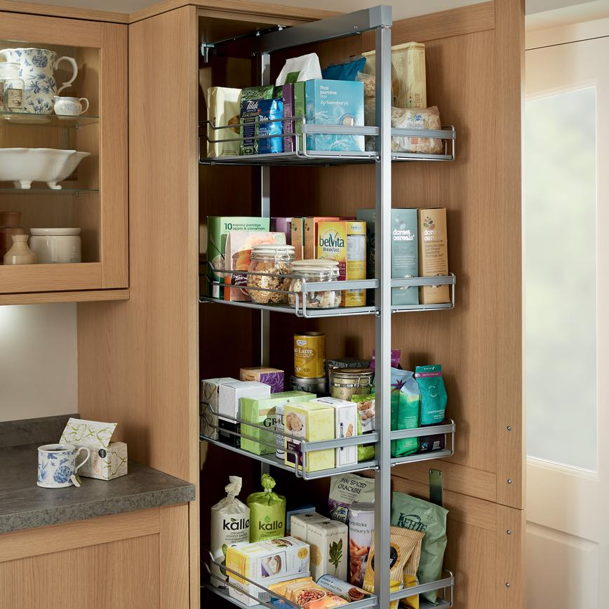 Standard Full-Height Pull-Out Larder Unit (Greenwich Shaker Light Oak - Traditional)
