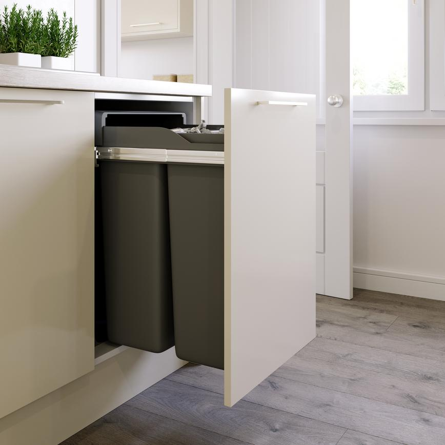 Greenwich Gloss Ivory Integrated Recycling Bin