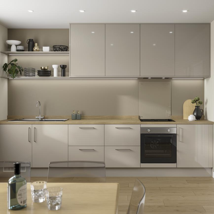 Pebble grey gloss single wall kitchen with light oak effect worktop, open shelving and built under electric oven.