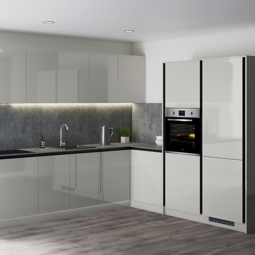 Minimalist grey gloss handleless kitchen in an l shape with grey worktops and splashback and built in oven.