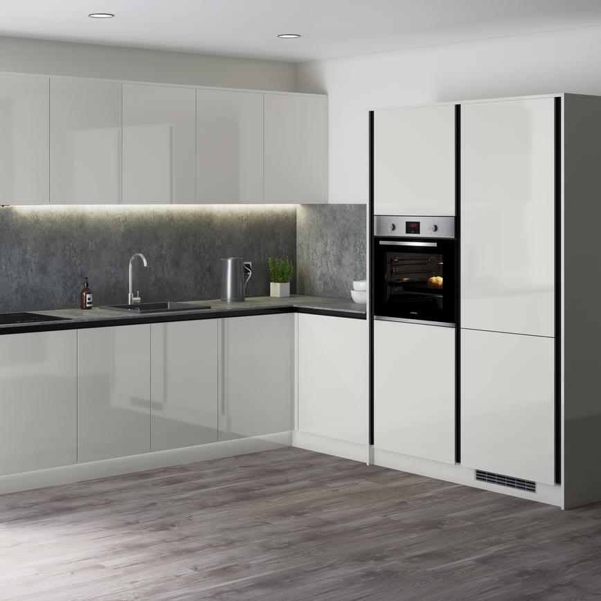 Modern grey gloss kitchen with industrial look grey worktop, matching splashback in an l shape with full height wall units.