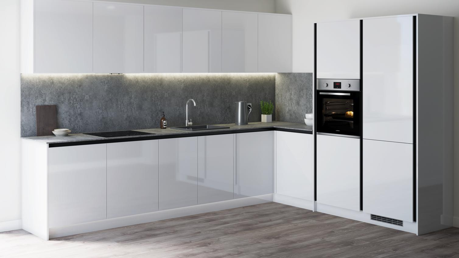 Greenwich Gloss White Handleless Kitchen Fitted Kitchens Howdens