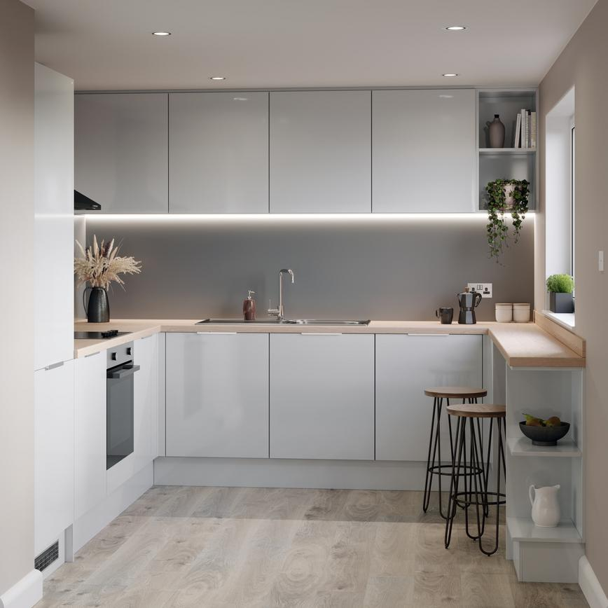 Small u shape kitchen with grey gloss kitchen doors, full height fridge freezer led lighting and beech kitchen worktop.