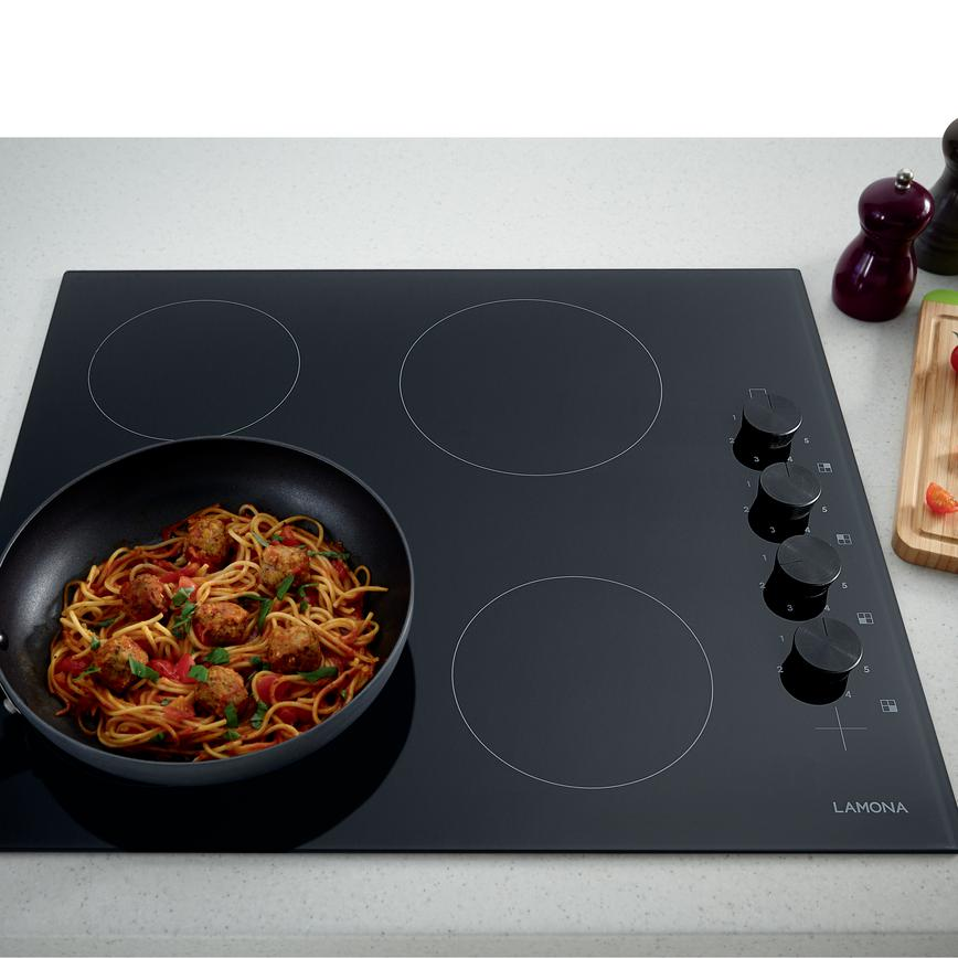 Lamona Side Control Black Ceramic Hob with Black Knobs (Greenwich Gloss Graphite - Modern)