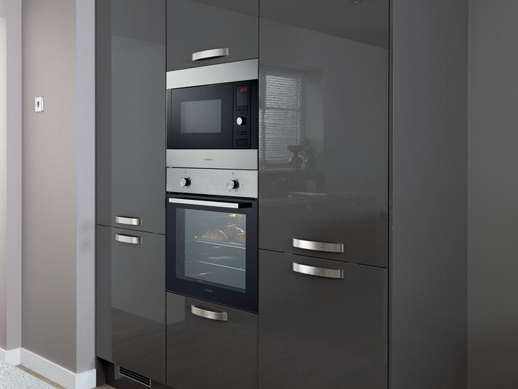 Lamona Single Fan Assisted Oven and Integrated Microwave & Grill (Greenwich Gloss Graphite - Modern)