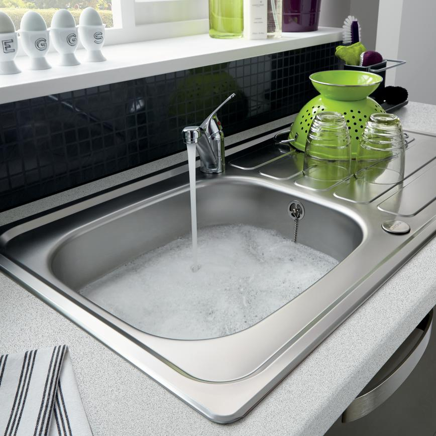 Lamona Drayton Single Bowl Sink with Lamona Chrome Arno Single Lever Tap and Black Slate Tile Effect Backboard (Greenwich Gloss Graphite - Modern)