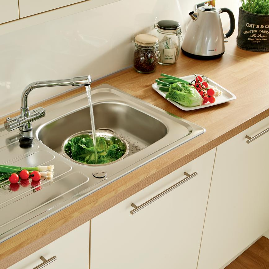 Lamona Drayton Single Bowl Sink with Lamona Chrome Hi-Tech Monobloc Tap (Stockbridge Matt Cream - Modern)
