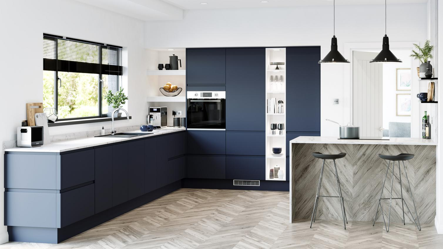 Clerkenwell Super Matt Navy Kitchen Fitted Kitchens