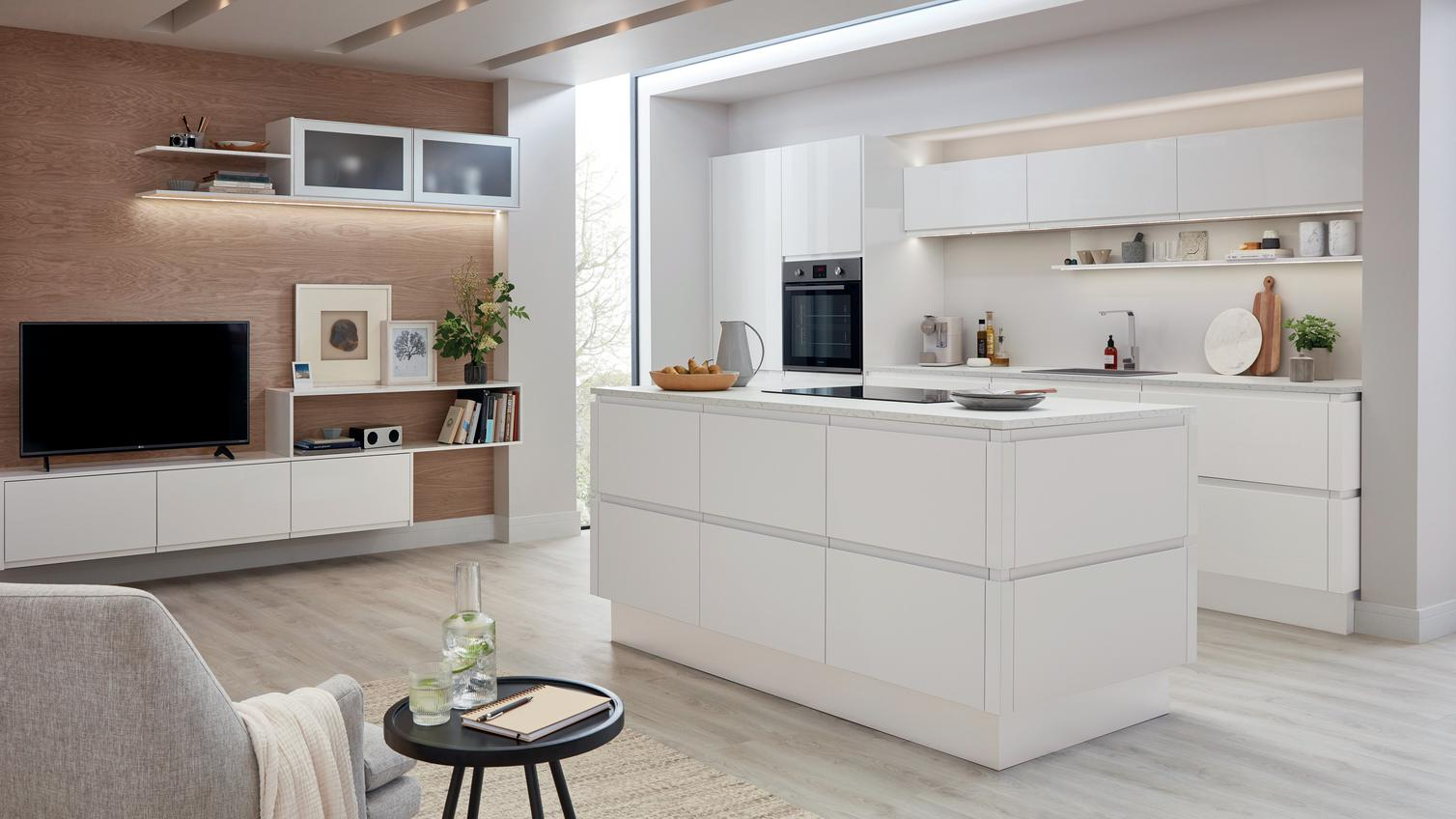 Clerkenwell Gloss White Kitchen Fitted Kitchens Howdens