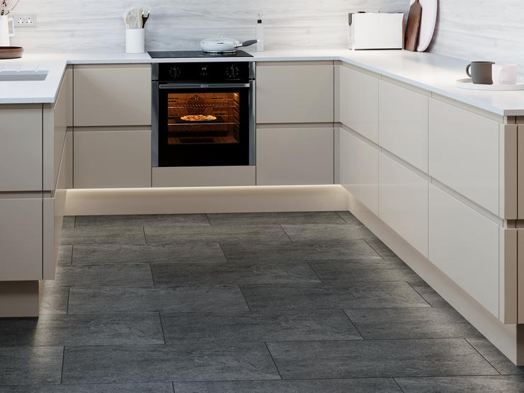 Clerkenwell Gloss Pebble - black slate vinyl tile flooring