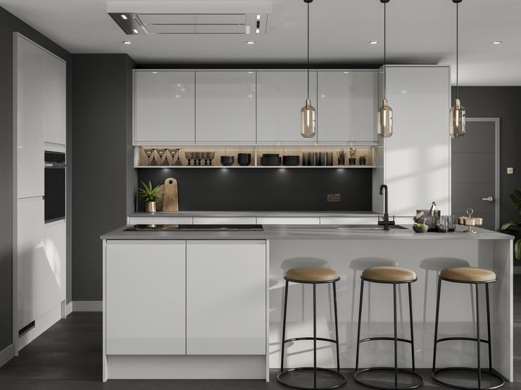 Modern gloss grey kitchen with cotemporary accessories including black kitchen tap and dark grey walls and pendant lighting.