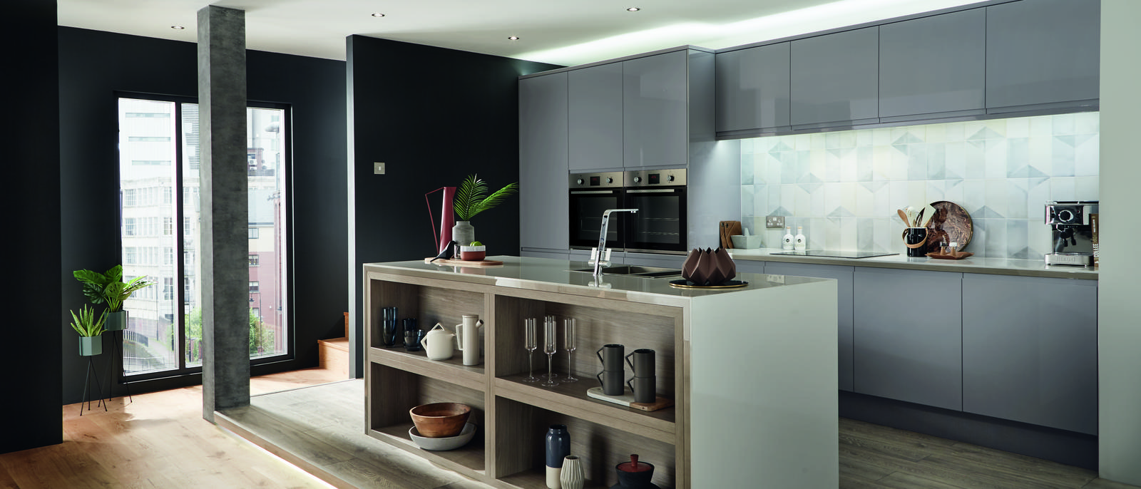 Clerkenwell Gloss Slate Grey Kitchen Fitted Kitchens