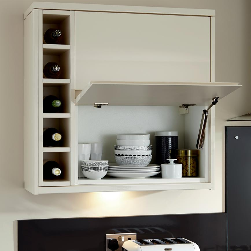 Half-Height Wall Unit with Flap-Stay Hinge and Wine Rack (Clerkenwell Gloss Cream - Modern)