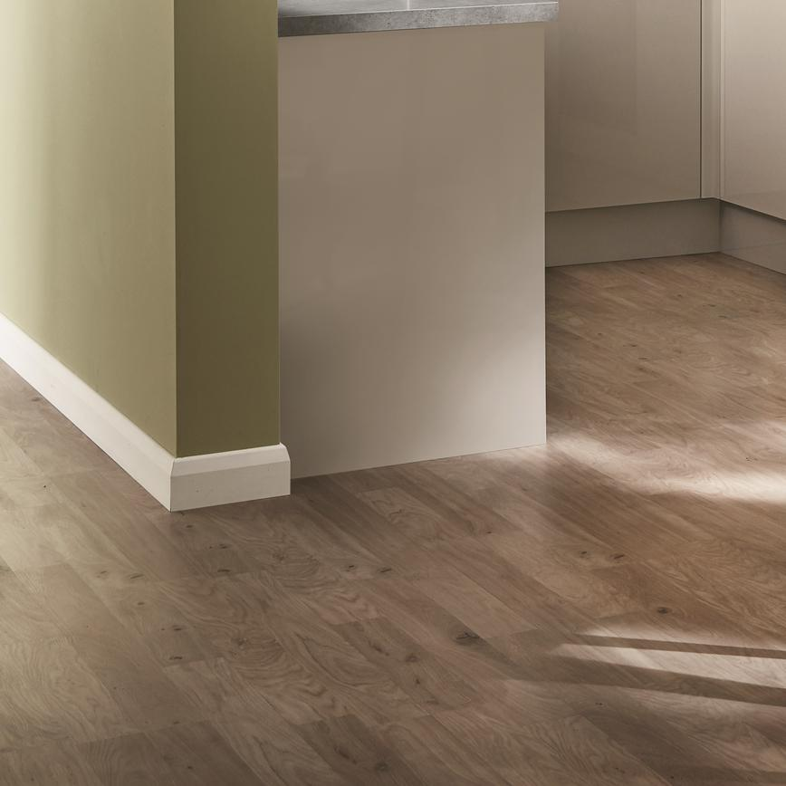 Glendevon Gloss Cashmere and light oak laminate flooring