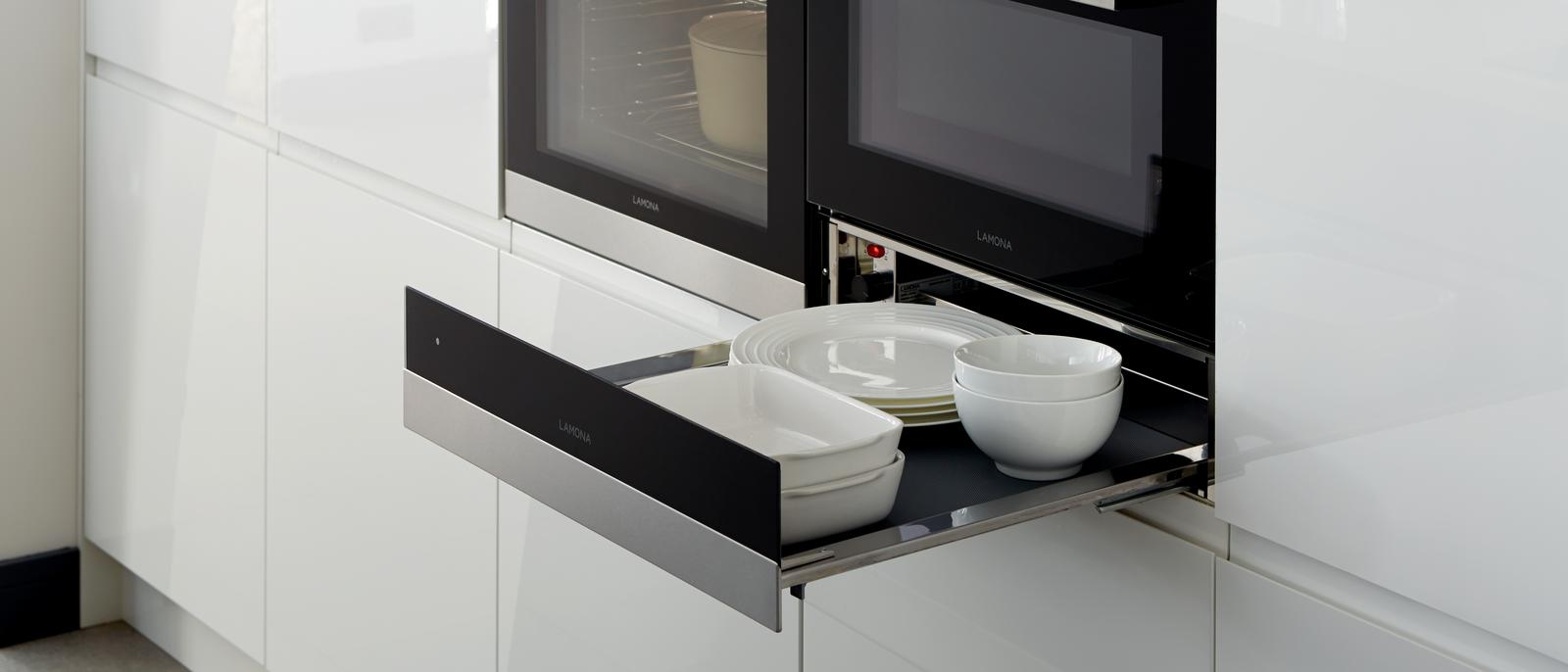 Lamona Touch Control Pyrolytic Oven, Lamona Touch Control, Combination Microwave and Lamona Warming Drawer (Gloss White Integrated Handle - Modern)