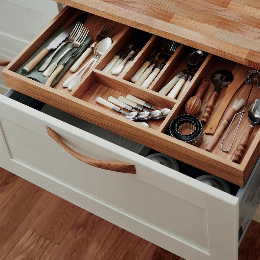 Kitchen Cabinets Repair Services: Timber Internal Storage Shallow Cutlery Drawer With
