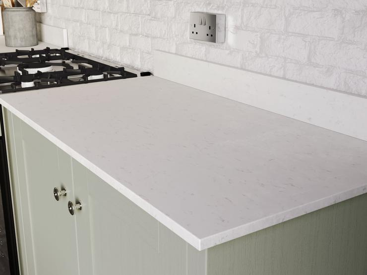 White Marble Quartz Worktop and Upstand