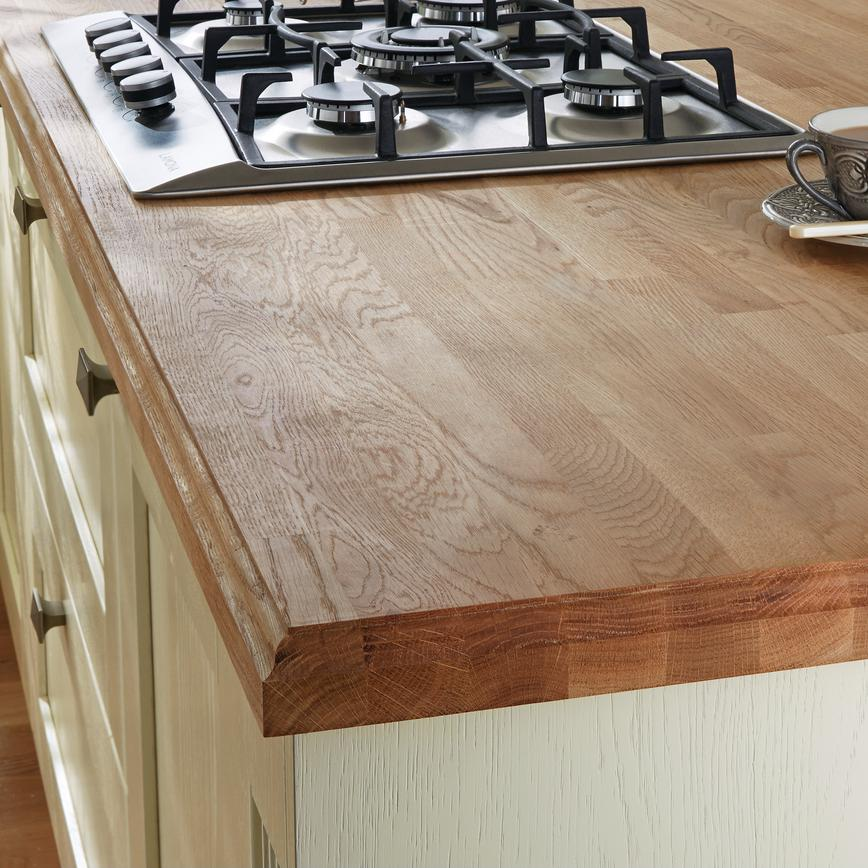 Solid Oak Block 40mm Worktop with a profiled finish