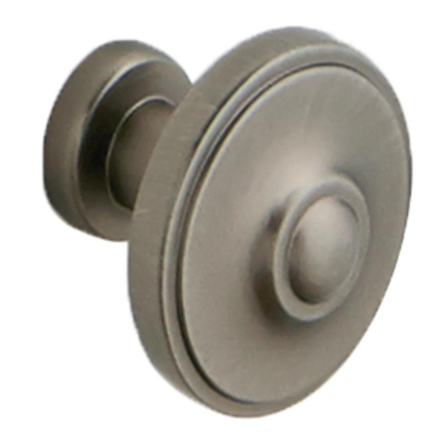 Antique Pewter Round Cupboard Door Knob 33mm
