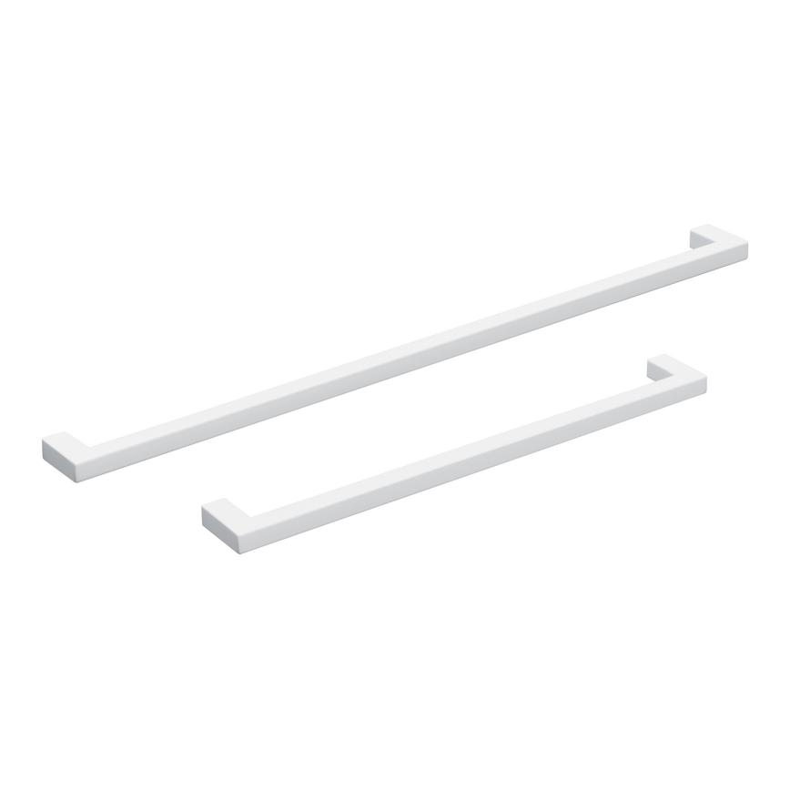 White thin square D bar handle group