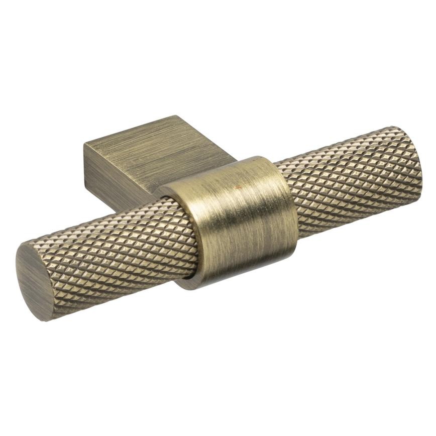 Aged brass effect knurled T bar handle