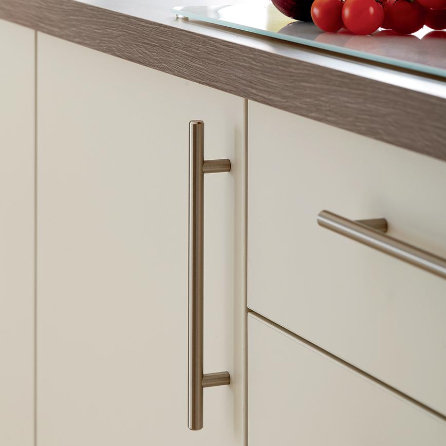 Brushed Stainless Steel Effect Classic T Bar Cupboard Handle Howdens