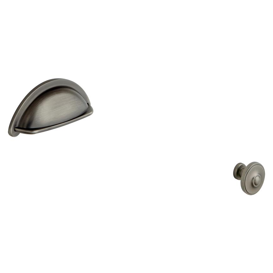 Pewter Effect Cup Handle and Knob Handle