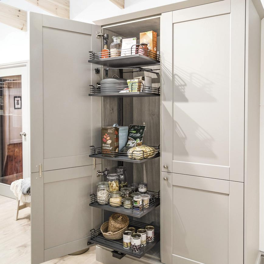 Light Grey Oak Pre-Fitted Pull Forward Larder Unit