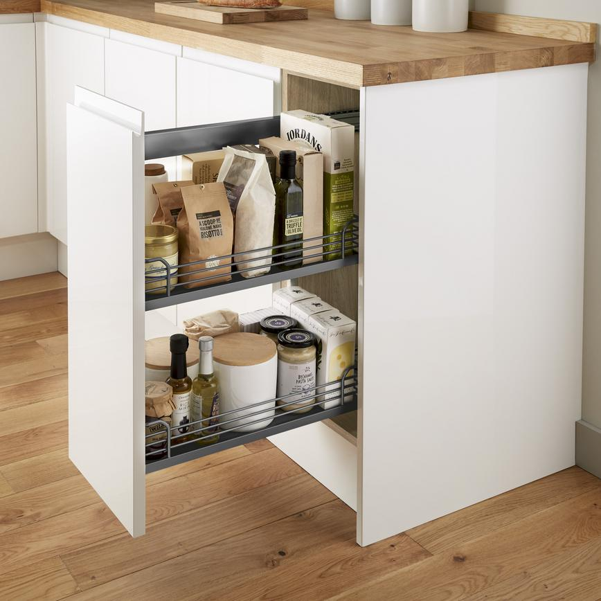 Natural Oak Pre Fitted Pull Out Base Cabinet - Anthracite