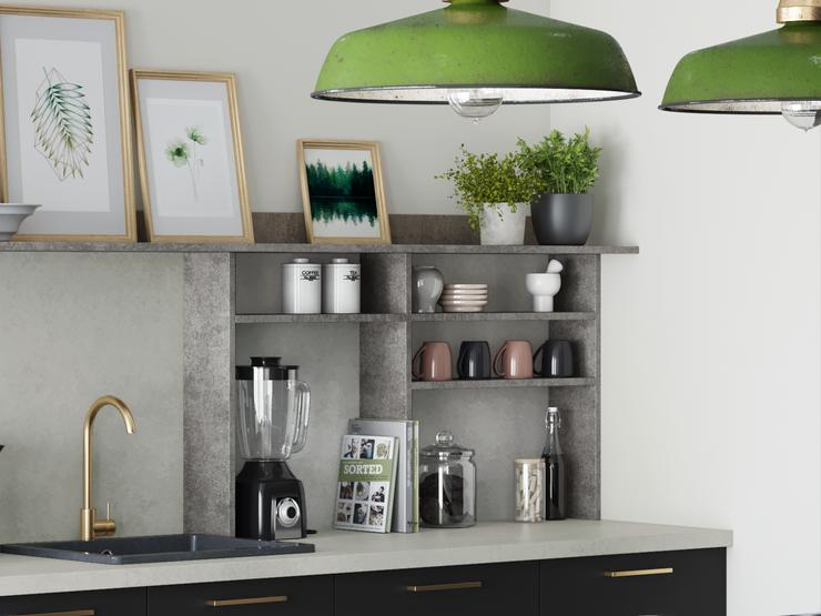 Greenwich Super Matt Charcoal with Concrete effect kitchen doors - shelving