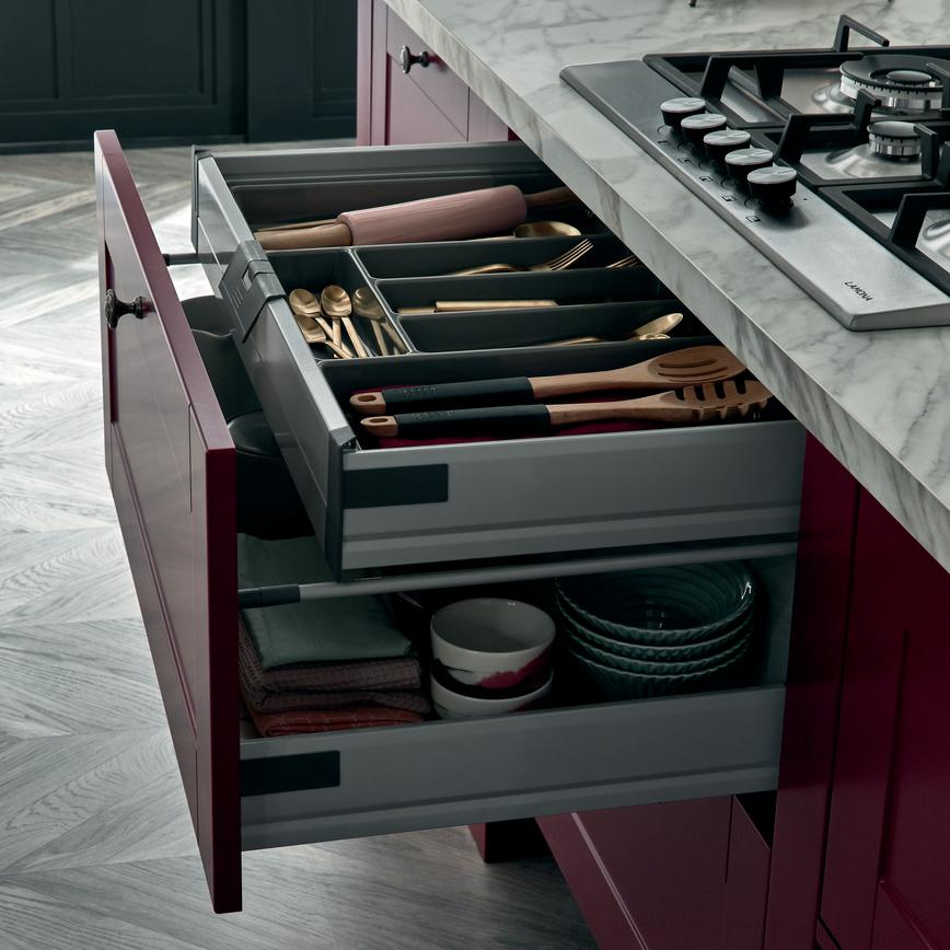 Internal Storage Shallow Cutlery Drawer With Tray
