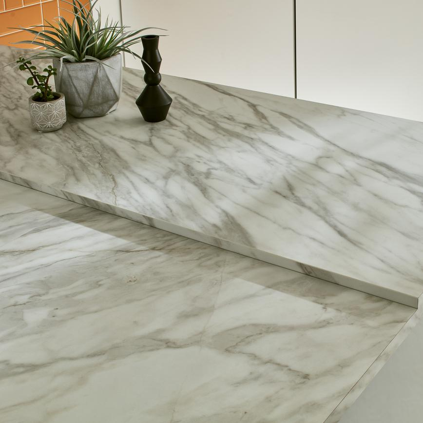 White Marble Effect 38mm Square Edge Worktop 3m Length Howdens Joinery