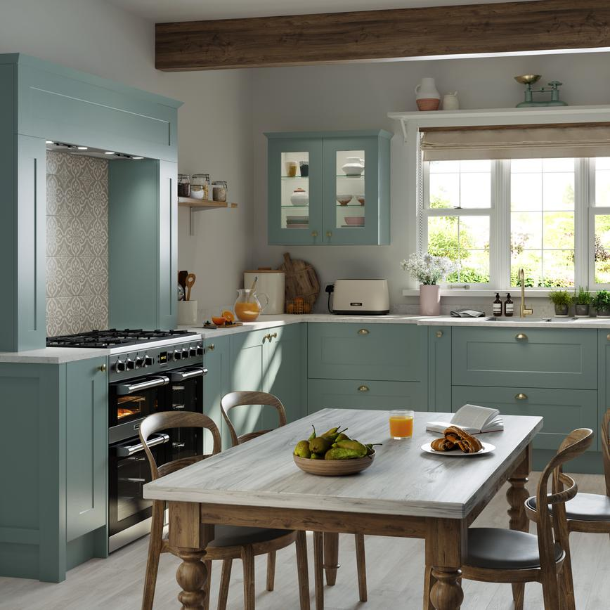 Chelford country style shaker kitchen with a marble effect worktop shown in mint green, that can be painted in any colour.