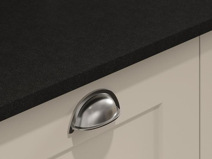 Brushed nickel effect handles crop