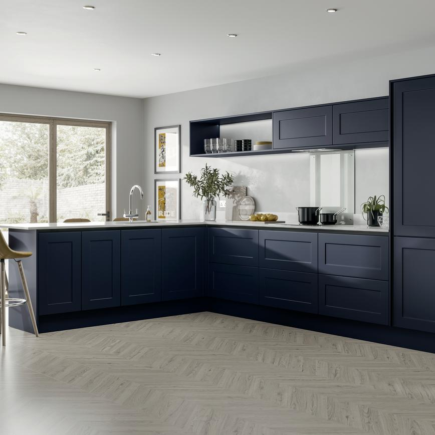 L-shape modern shaker style blue kitchen idea with handleless cabinets. Includes half-height wall units and open shelving.