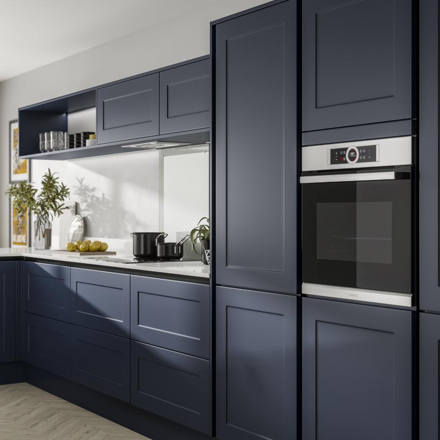 Chelford Navy Handleless Kitchen Fitted Kitchens Howdens