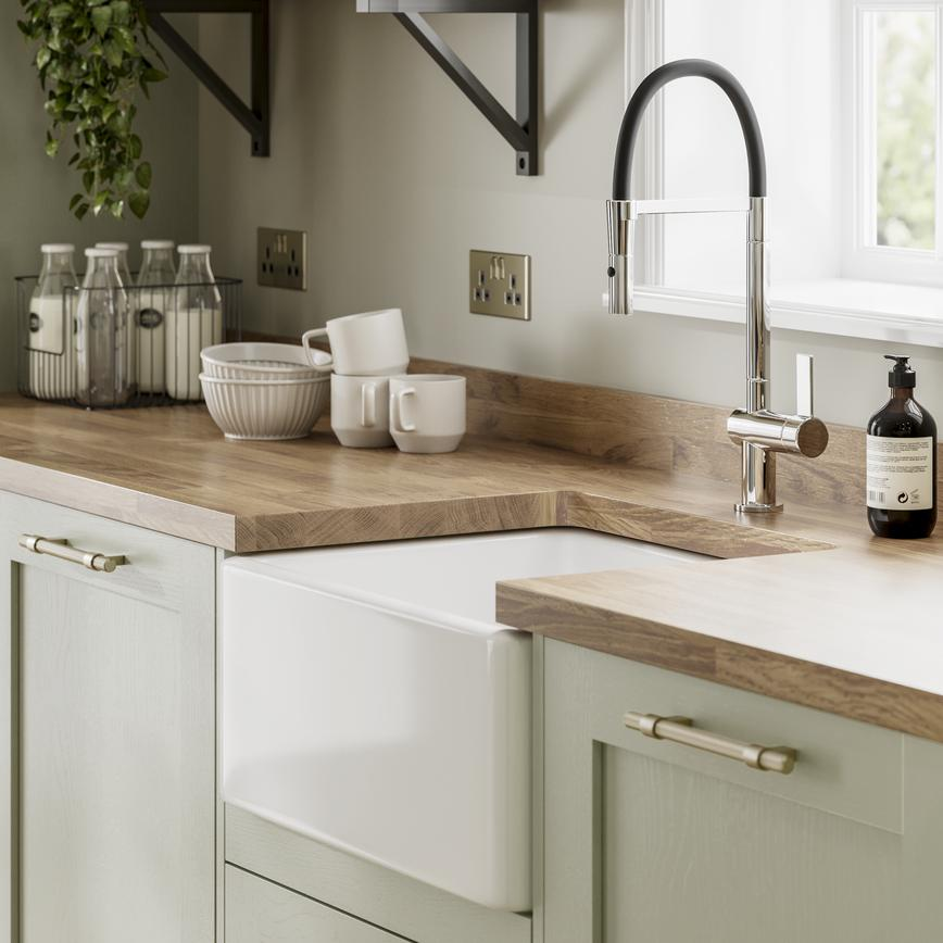 Chilcomb Sage Green - Sink and tap