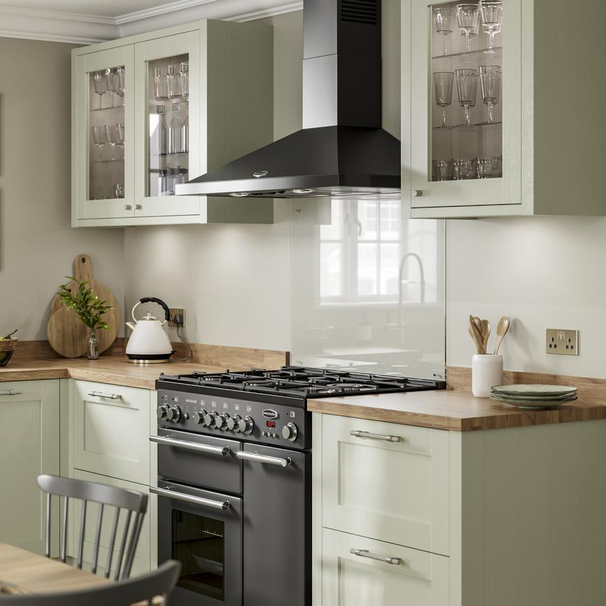 Chilcomb Sage Green - Glass fronted cabinets