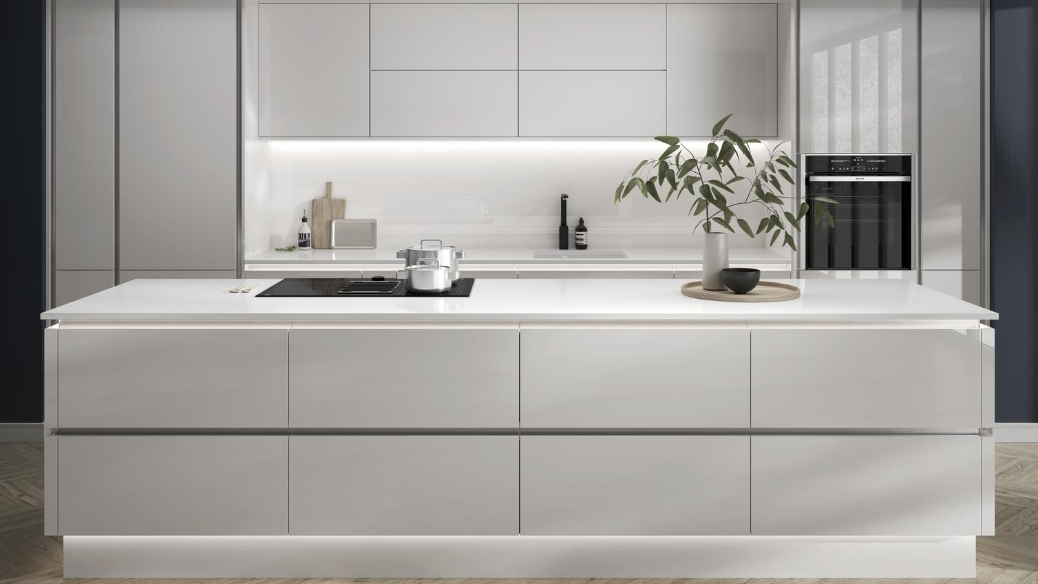 Hockley Mirror Gloss Dove Grey Handleless Kitchen Fitted