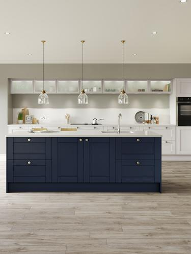 Fairford Dove Grey and Navy Main Set Shot - Kitchen Brochure
