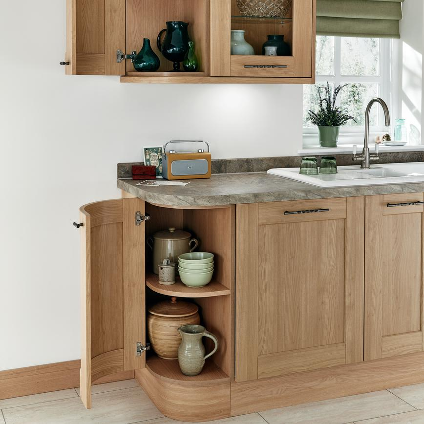 Fairford Light Oak curved units