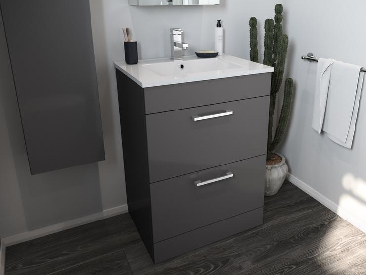 Gloss Graphite Floorstanding 600mm Vanity Unit