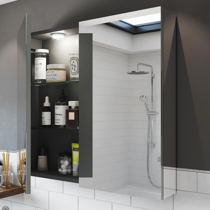 Alderney Gloss White 800mm Wall Mounted Mirrored Cabinet ...
