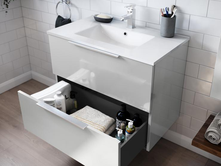 Gloss Dove Grey 800mm Wall Mounted Vanity Unit