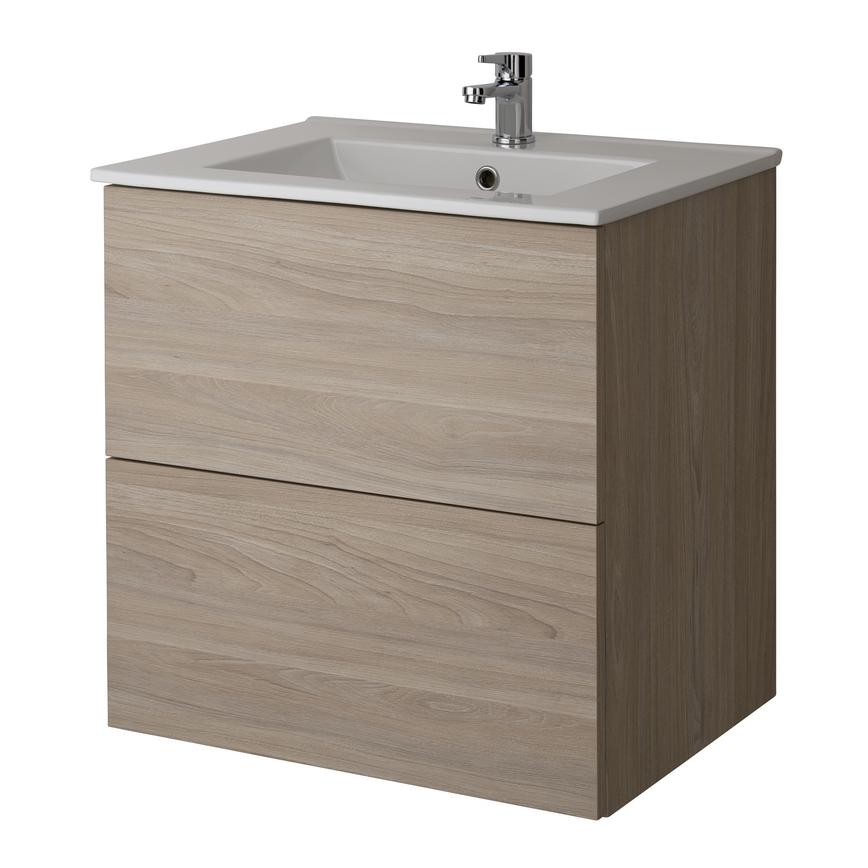 Alderney Wall Mounted Vanity Unit 600mm and 800mm - Drift Oak